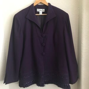 Vintage Christian Dior Jacket Purple Fringe 18